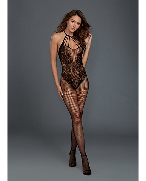 Fishnet Bodystocking w/Knitted Teddy Design  - Black - One Size