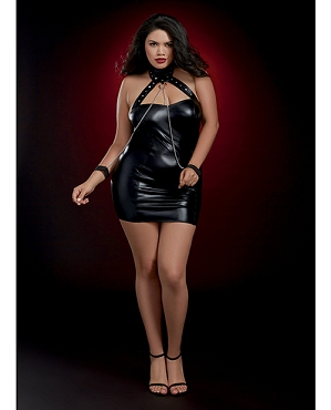 Fetish Chemise w/Studded Collar & Chained Wristcuffs - Black - Queen Size