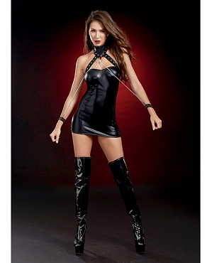 Fetish Chemise w/Studded Collar & Chained Wristcuffs - Black - One Size