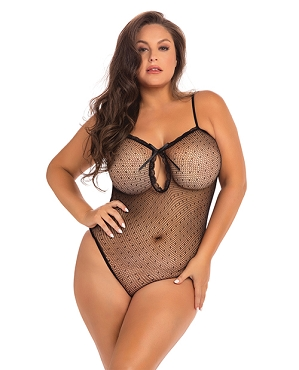 Undone See Through Bodysuit - Black - Queen Size