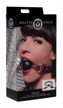 Triad Interchangeable Silicone Ball Gag - Red & Black