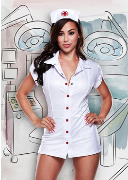 Full Vinyl Nurse Costume - White - One Size